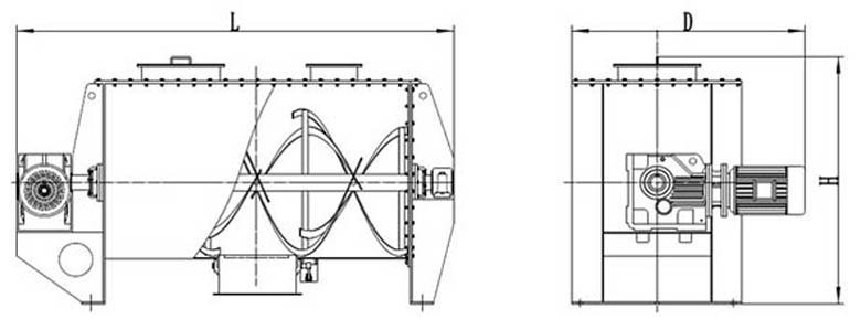 Horizontal Powder Ribbon Mixer